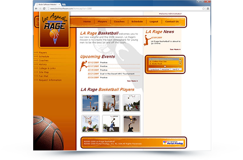 Los Angeles Rage Basketball Website